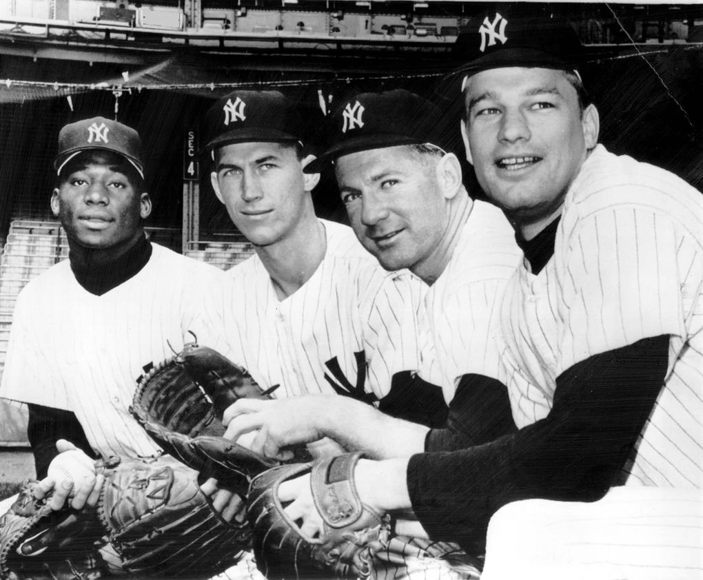 This quartet of New York Yankee pitchers saw action in the 1964 World Series. Posing in New York during a practice session are, from left, Al Downing, Mel Stottlemyre, Whitey Ford and Jim Bouton. (Associated Press)