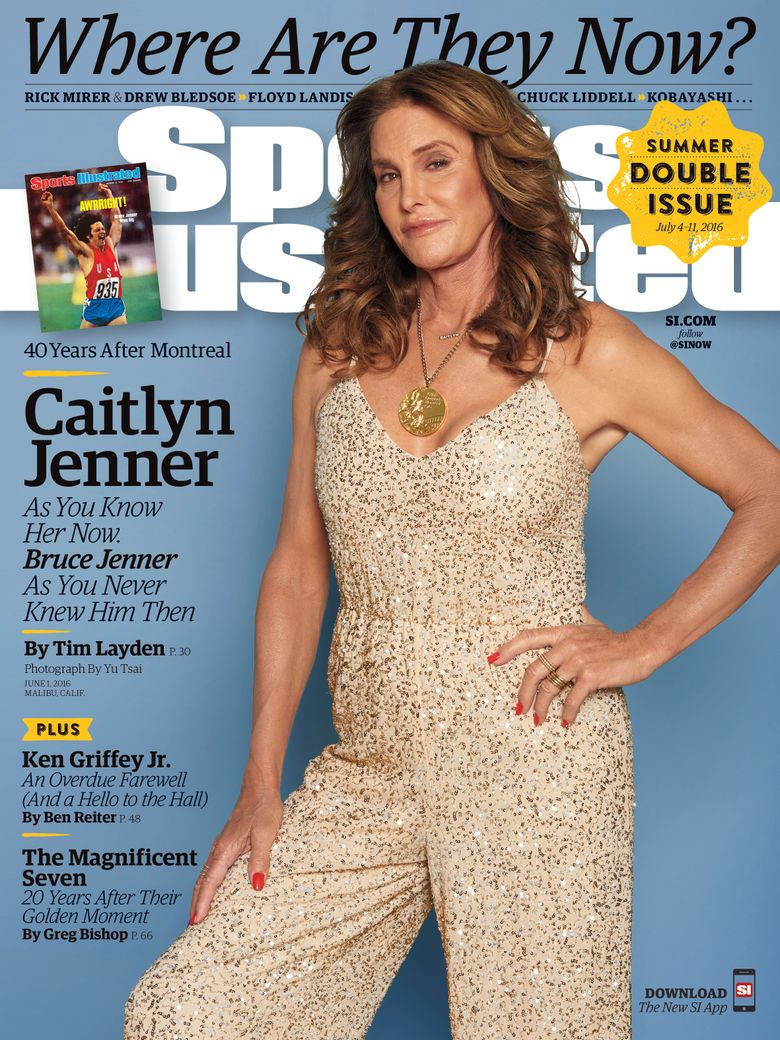 This image provided by Sports Illustrated on Tuesday, June 28, 2016, shows the Sports Illustrated cover with Caitlyn Jenner that is on sale now. Jenner is appearing on the cover wearing her gold medal 40 years after her 1976 decathlon Olympic win. Jenner, at the time Bruce Jenner, was featured on the SI cover in the Aug. 9, 1976, issue after winning gold. (Yu Tsai/Sports Illustrated via AP) MANDATORY CREDIT; NORTH AMERICA USE ONLY