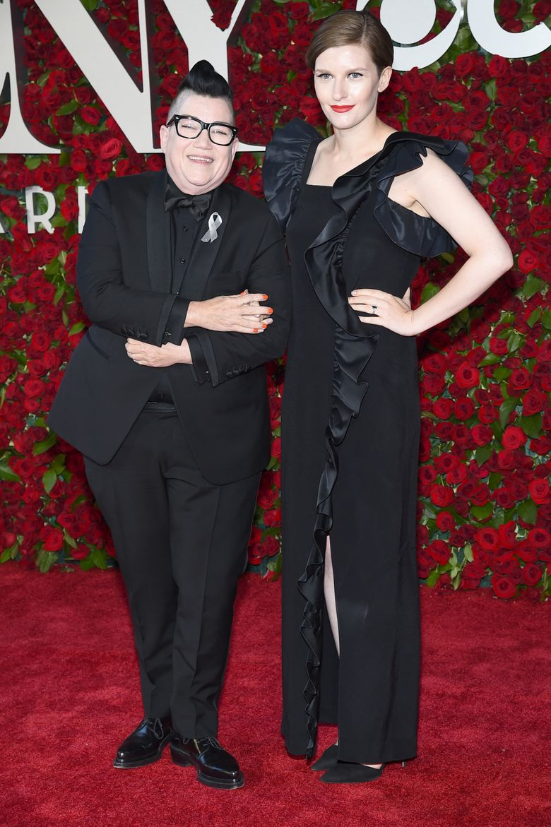 """FILE – In this June 12, 2016 file photo, Lea DeLaria, left and Chelsea Fairless arrive at the Tony Awards in New York. DeLaria, who plays Big Boo in the Netflix series """"Orange is the New Black,"""" is seeing something hopeful come out of the tragedy of the mass shooting in Orlando. There's a renewed sense across the nation of gay people as fellow human beings, as evidenced by apologies from politicians for past homophobic statements and the rush by volunteers to help victims of the shootings and their loved ones. (Photo by Charles Sykes/Invision/AP, File)"""