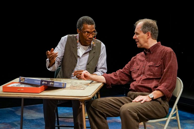 """In Thalia's Umbrella's production of """"Sorry"""" by Richard Nelson, William Hall Jr., left, is Benjamin, and Terry Edward Moore plays the role of Richard . (Photo by Alabastro Photography) (Alan Alabastro)"""