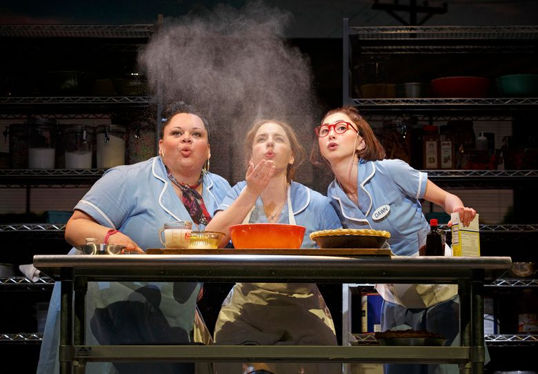 """This image released by Boneau/Bryan-Brown shows, Keala Settle, left, Jessie Mueller and Kimiko Glenn, right, during a performance of """"Waitress,"""" at the Brooks Atkinson Theatre in New York. (Joan Marcus/Boneau/Bryan-Brown via AP)"""