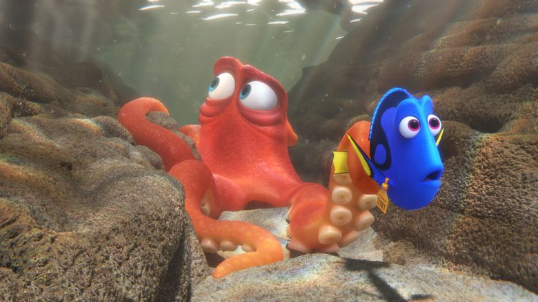 """This image released by Disney shows the characters Hank, voiced by Ed O'Neill, left, and Dory, voiced by Ellen DeGeneres, in a scene from """"Finding Dory."""" (Pixar/Disney via AP)"""