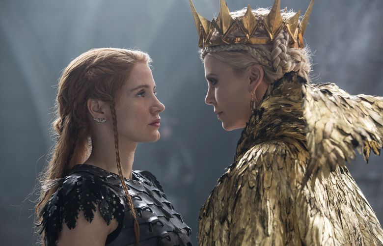 """""""The Huntsman: Winter's War,"""" starring Jessica Chastain, left, and Charlize Theron, is playing at the Gateway.  (Credit: Giles Keyte)"""