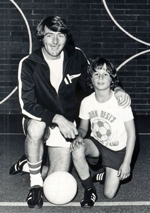A young Adrian Hanauer poses next to John Best, coach of the original Sounders, at Best's soccer camp in 1975. (Photo courtesy of Adrian Hanauer)