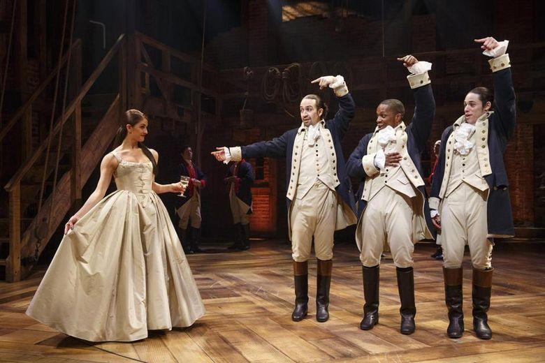 "Carleigh Bettiol, right, Lin-Manuel Miranda, Leslie OdomJr. and Anthony Ramos in ""Hamilton."""