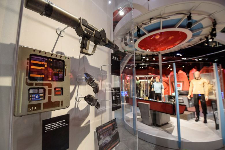 """The exhibit """"Star Trek: Exploring New Worlds"""" celebrates the 50th anniversary of the franchise at EMP Museum. For more information, see the listing under """"Museum events."""" (Brady Harvey)"""