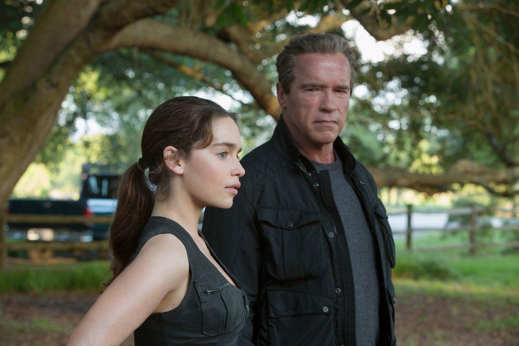 "Emilia Clarke and Arnold Schwarzenegger star in ""Terminator Genisys,"" coming to Hulu in July.  (Photo credit: Melinda Sue Gordon/Melinda Sue Gordon)"