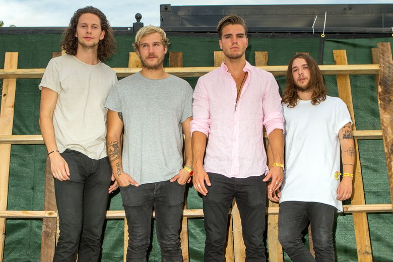 FILE – In this Sept. 27, 2015 file photo, Rubin Pollock, from left, Daniel Kristjansson, JJ Julius Son, and David Antonsson of Kaleo pose backstage during the Life is Beautiful festival in Las Vegas. While Bjork may be Iceland's best-known musical export, a four-part rock band is making waves in the U.S. with their bluesy rock sound. (Photo by Paul A. Hebert/Invision/AP, File)