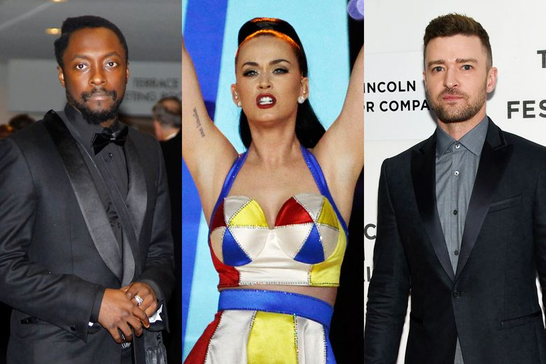 This combination of 2011, 2015 and 2016 photos shows will.i.am, Katy Perry and Justin Timberlake. A study published Monday, June 6, 2016 in the journal Pediatrics shows that 20 of the hottest teen-music heartthrobs have done TV ads or other promotions for products nutritionists consider unhealthy. The list includes Timberlake ads for Chili's, McDonald's and Pepsi; will.i.am ads for Coca-Cola, Doritos, Dr. Pepper and Pepsi; and a Perry endorsement for Popchips. (AP Photo)