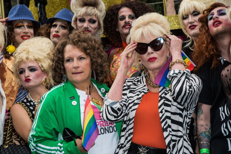 """FILE – This is a Saturday June 25, 2016 file photo of British actresses Jennifer Saunders, left, and Joanna Lumley as they pose for photographers during a photo call to promote the film 'Absolutely Fabulous', during the annual Gay Pride parade in London. Jennifer Saunders and Joanna Lumley will be hoping to lift the spirits of a post-Brexit Britain when they attend the world premiere of """"Absolutely Fabulous: The Movie"""" Wednesday June 29, 2016. (Photo by Vianney Le Caer/Invision/AP, File)"""