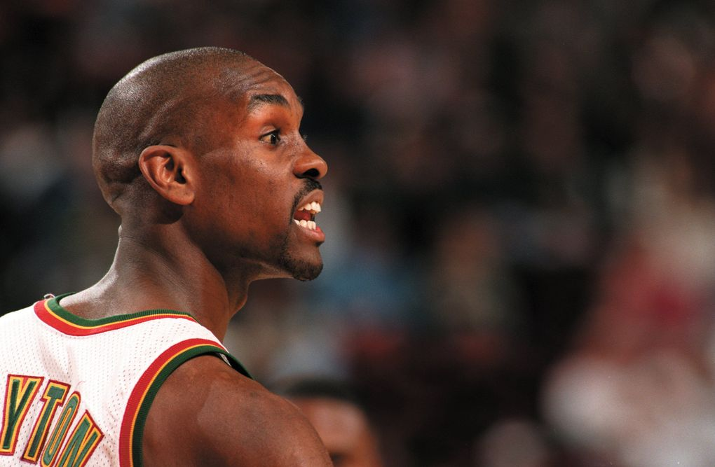 Sonics point guard Gary Payton averaged 19.3 points and 7.5 assists in 1995-96 and was the NBA's Defensive Player of the Year. (Seattle Times file)