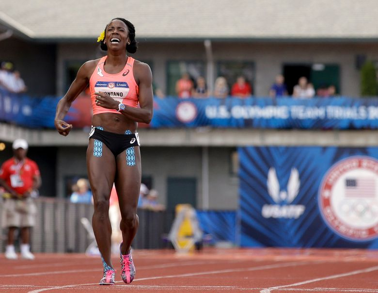 Alysia Montano reacts after falling during the women's 800-meter final at the Olympic Trials. (Marcio Jose Sanchez/AP)