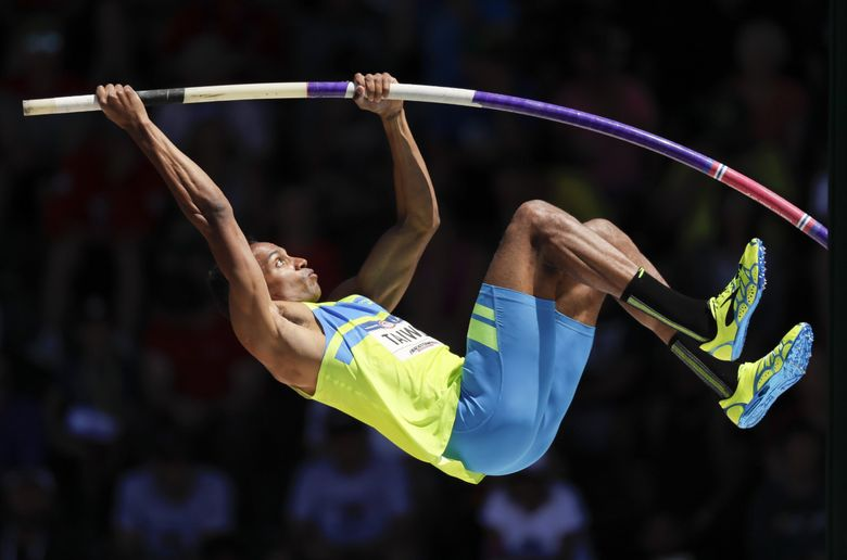 Jeremy Taiwo competes during the decathlon pole vault event at the U.S. Olympic Track and Field Trials, Sunday, July 3, 2016, in Eugene Ore. (AP Photo/Matt Slocum)