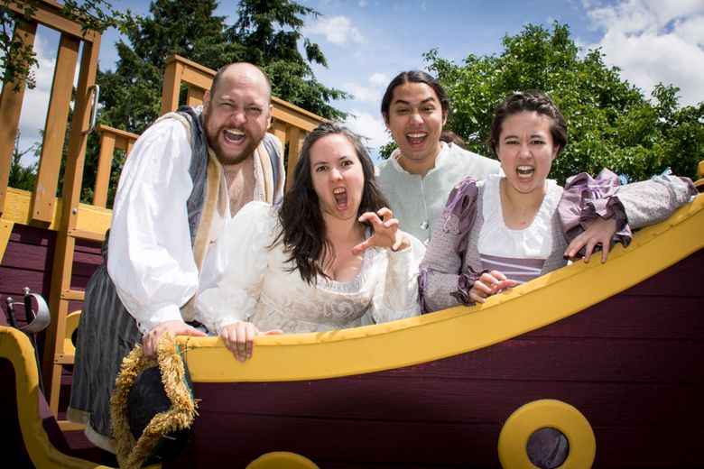 """Gavin McLean, left, Jennifer Crooks, Tyler Dobies, and Laura Lee Caudill play all of the characters in GreenStage's production of """"Pericles, Prince of Tyre."""" (Ken Holmes)"""