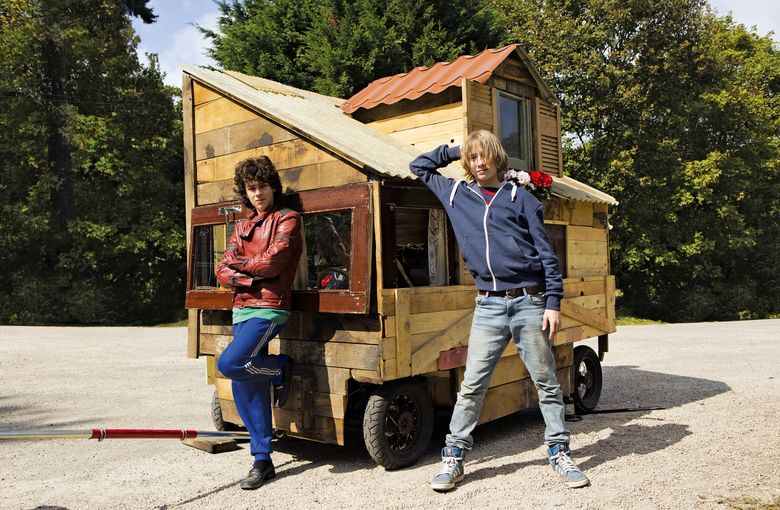 """Theophile Baquet, left, and Ange Dargent play friends who set off on a road trip in their handmade vehicle in """"Microbe & Gasoline."""""""