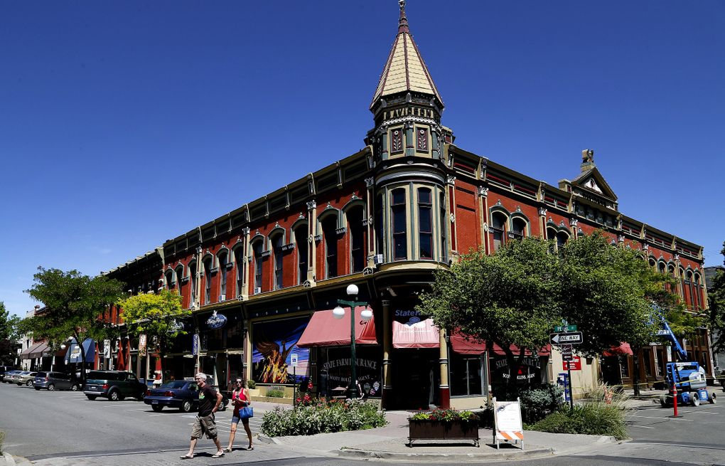 Downtown Ellensburg's landmark Davidson Building was completed in 1889, the year Washington became a state. In its early days, Ellensburg was in the running to be the state capital. Today, it's the Kittitas County seat and a lively college town steeped in history, art and good food. (Johnny Andrews / The Seattle Times)