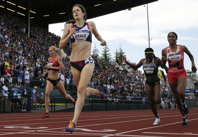 The USOC told Kate Grace's sponsor Oiselle to delete its social media posts congratulating her on qualifying for the Olympic Games.  (Matt Slocum/The Associated Press)