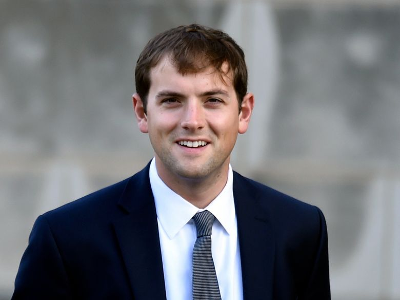 """FILE – In this Oct. 29, 2014 file photo, Luke Russert arrives for the funeral service for Ben Bradlee at the National Cathedral in Washington. Russert, son of the late """"Meet the Press"""" moderator Tim Russert, says that he's leaving NBC News to take some time away from political reporting. His announcement Wednesday came on the eve of the national political conventions. (AP Photo/Susan Walsh, File)"""