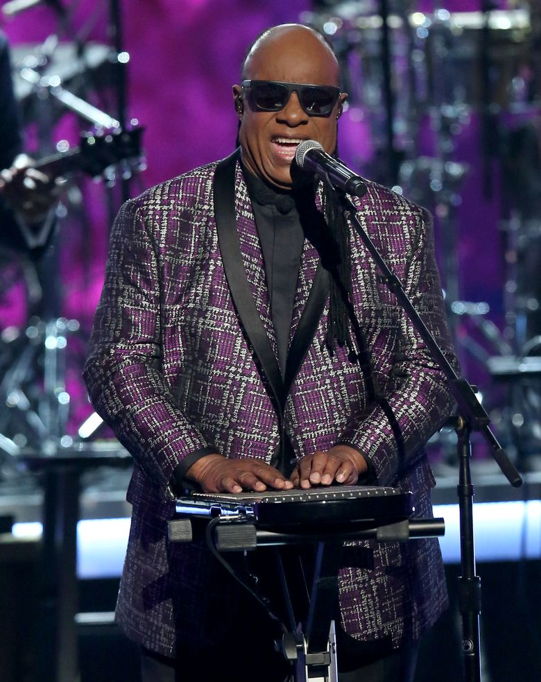 """FILE – In this Sunday, June 26, 2016 file photo, Stevie Wonder performs """"Take Me With U"""" during a tribute to Prince at the BET Awards at the Microsoft Theater in Los Angeles. Wonder urged his fans to choose """"love over hate"""" and expressed dismay over the troubles in the world at a concert Sunday, July 10, devoted to one of his classic albums. (Photo by Matt Sayles/Invision/AP, File)"""
