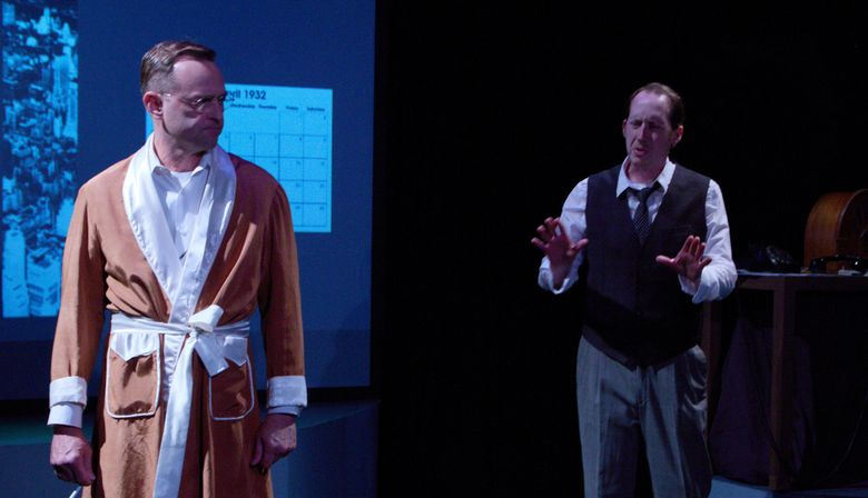 """Chip Wood and Brian Lange in """"The Crossing"""" at Theater Schmeater.  (Dave Hastings)"""