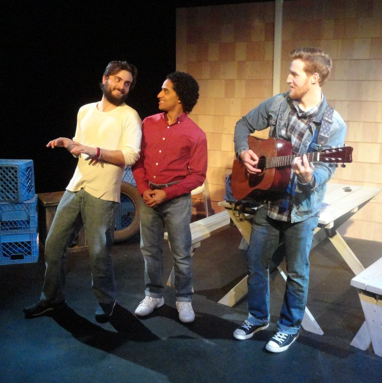 """Cooper Harris-Turner, left, Alan E. Garcia and Curtis Gehlhausen in ReAct's staging of """"The Aliens."""""""