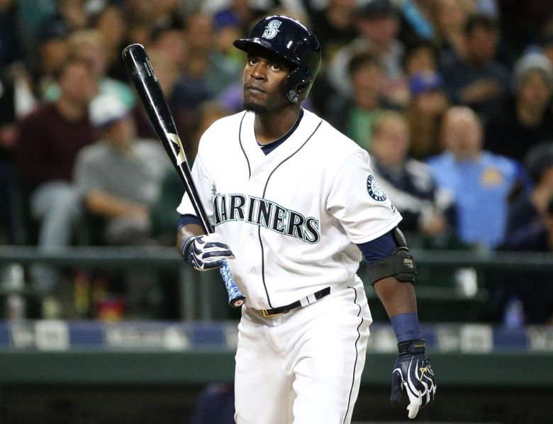 Mariners left fielder Guillermo Heredia after striking out to end the fifth inning. (Ken Lambert / The Seattle Times)