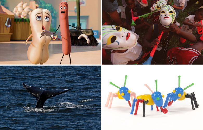 """Clockwise from top left: """"Sausage Party,"""" the Rainier Valley Heritage Parade, MOHAI's new toy exhibit, and a view from Tofino, B.C.  (Seattle Times mashup)"""