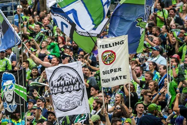 Sounders fans show their hate for Portland before the Seattle Sounders take on the Portland Timbers at CenturyLinkField in Seattle Sunday August 21, 2016.  (Bettina Hansen / The Seattle Times)