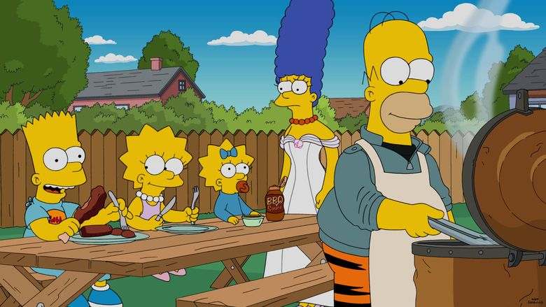 """In this image released by Fox, characters, from left, Bart, voiced by Nancy Cartwright, Lisa, voiced by Yeardley Smith, Maggie, Marge, voiced by Julie Kavner and Bart, voiced by Dan Castellaneta appear in a scene from the animated series, """"The Simpsons."""" The series will expand to a one hour for the episode, titled """"The Great Phatsby,"""" starring Taraji P. Henson and Keegan-Michael Key. (Fox via AP)"""