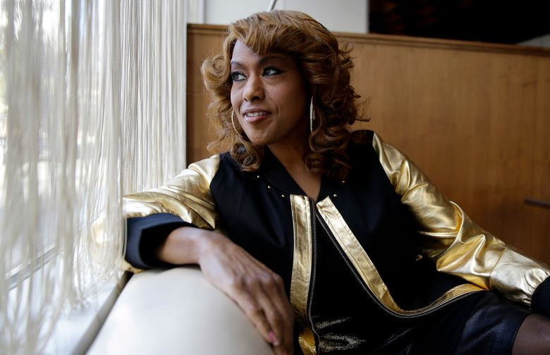 """FILE – This Jan. 15, 2014 file photo shows actress and singer Jennifer Holliday during an interview in Atlanta. Holliday will take over the role of Shug Avery from Heather Headley in """"The Color Purple,"""" on Oct. 4. (AP Photo/John Bazemore, File)"""