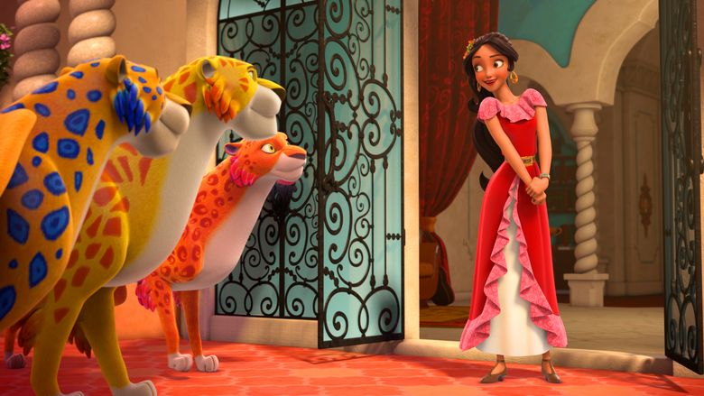 """In this image released by the Disney Channel, the character Princess Elena, right, appears in a scene from """"Elena Of Avalor.""""  The series, that airs on Disney Channel and Disney Junior, was renewed for a second season, Thursday, Aug. 11, 2016.  (Disney Channel via AP)"""