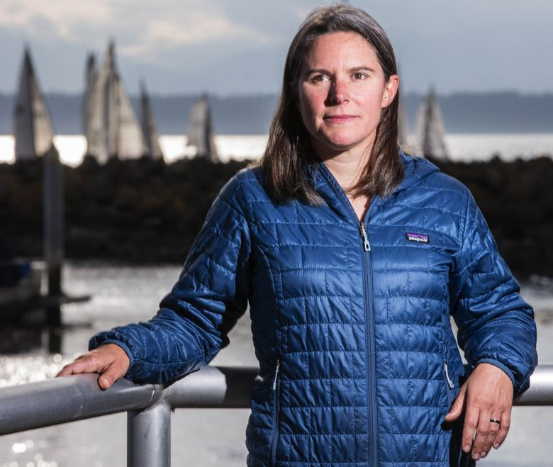 Jen Morgan Glass coached local Olympian Helen Scutt, and was instrumental in bringing the 49erFX boat to the Rio Games. Photographed Monday, August 8, 2016. (Dean Rutz/The Seattle Times)