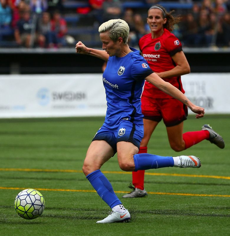 Megan Rapinoe makes the third and final goal for the Reign FC at Memorial Stadium on Saturday before a crowd of 5,888. (Sy Bean/The Seattle Times)