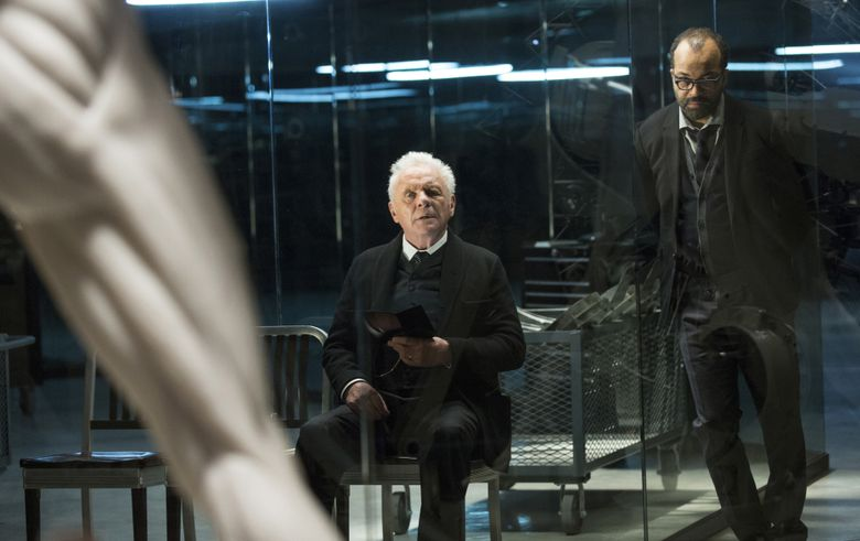 """Anthony Hopkins, left, and Jeffrey Wright in a scene from """"Westworld."""" (John P. Johnson/HBO via AP)"""