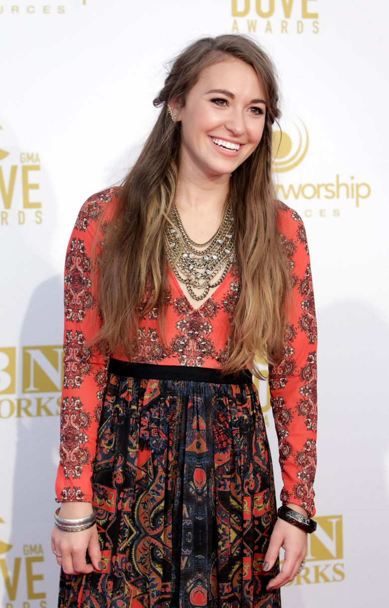 FILE – In this Oct. 13, 2015 file photo, Lauren Daigle appears at the 46th Annual GMA Dove Awards in Nashville, Tenn. Daigle earned six nominations for this year's Dove Awards, including artist of the year. The awards will be held on Oct. 16. (Photo by Wade Payne/Invision/AP, File)