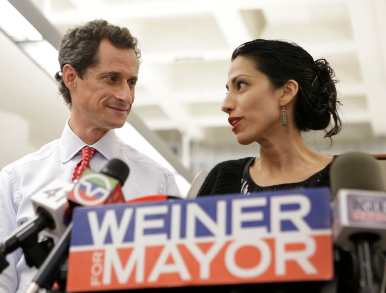FILE – In this July 23, 2013 file photo, Huma Abedin, alongside her husband, then-New York mayoral candidate Anthony Weiner, speaks during a news conference in New York. Democratic presidential candidate Hillary Clinton aide Huma Abedin says she is separating from husband Anthony Weiner after another sexting revelation involving the former congressman from New York.  (AP Photo/Kathy Willens, File)