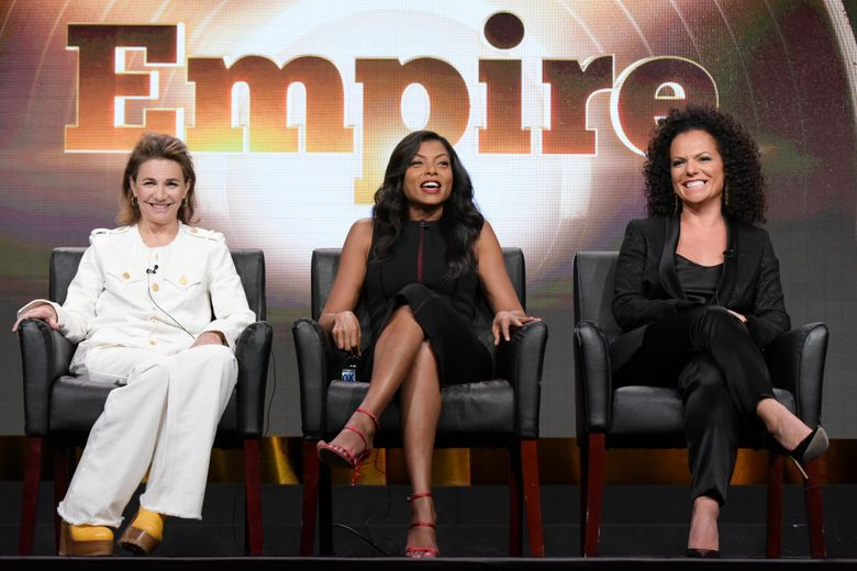 """Ilene Chaiken, from left, Taraji P. Henson and Sanaa Hamri participate in the """"Empire"""" panel during the Fox Television Critics Association summer press tour on Monday, Aug. 8, 2016, in Beverly Hills, Calif. (Photo by Richard Shotwell/Invision/AP)"""