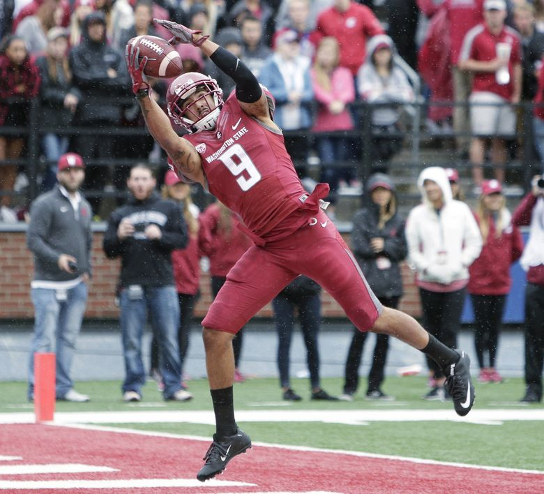 Washington State wide receiver Gabe Marks (9) catches a pass for a touchdown during the first half of an NCAA college football game against Idaho in Pullman, Wash., Saturday, Sept. 17, 2016. (AP Photo/Young Kwak) WAYK111