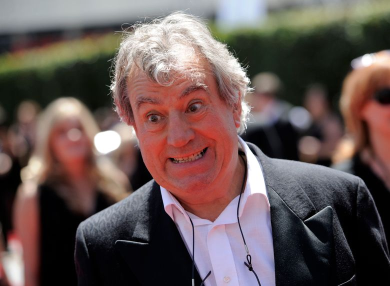 FILE- In this Saturday, Aug. 21, 2010 file photo, Terry Jones arrives at the Creative Arts Emmy Awards in Los Angeles. Jones, one of the founding members of comedy troupe Monty Python, has been diagnosed with dementia. (AP Photo/Chris Pizzello, file)