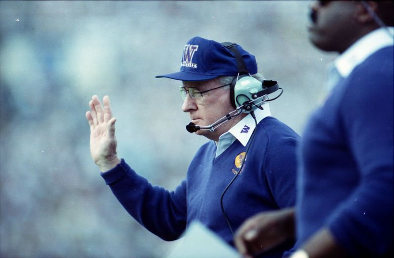 Washington Huskies head coach Don James makes a call during the 1992 Rose Bowl against Michigan. (Rod Mar / The Seattle Times)