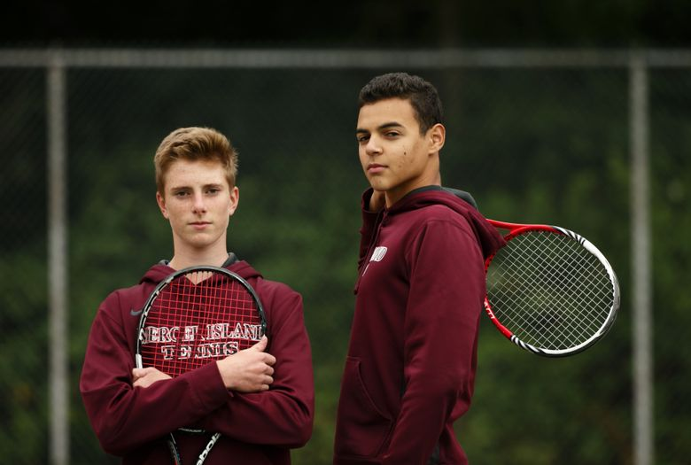 Mercer Island tennis players Chris Elliott, left, and Christian Anderson took second at the state tournament.  (Erika Schultz/The Seattle Times)
