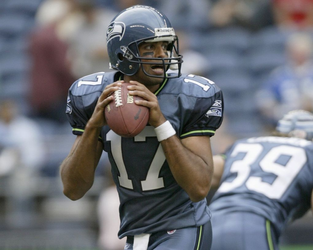 Seattle Seahawks quarterback Gibran Hamdan looks to pass before a preseason game against the Dallas Cowboys at Qwest Field on Aug. 22, 2005. (Photo by: Otto Greule Jr/Getty Images)