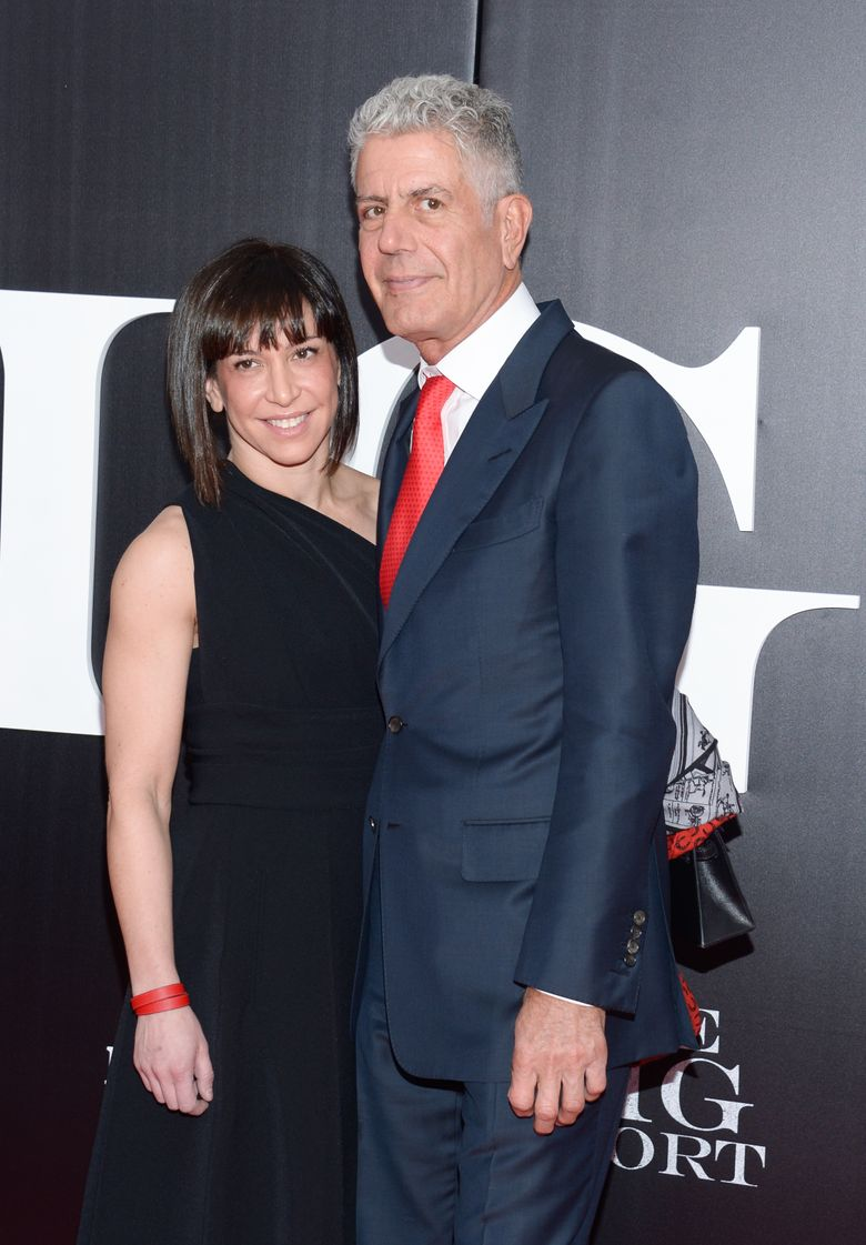 """FILE – In this Nov. 23, 2015, file photo, chef and television personality Anthony Bourdain and wife Ottavia Busia attend the premiere of """"The Big Short"""" at the Ziegfeld Theatre in New York. Bourdain's representative confirmed reports on Sept, 20, 2016, that the couple has decided to separate. (Photo by Evan Agostini/Invision/AP, File)"""
