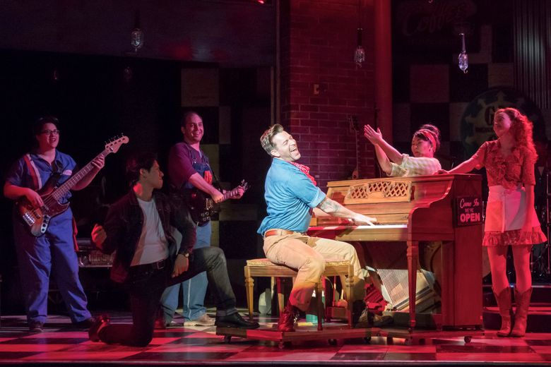 """Everyone sings and plays a musical instrument in """"Pump Boys and Dinettes"""" at Village Theatre.  (Mark Kitaoka)"""