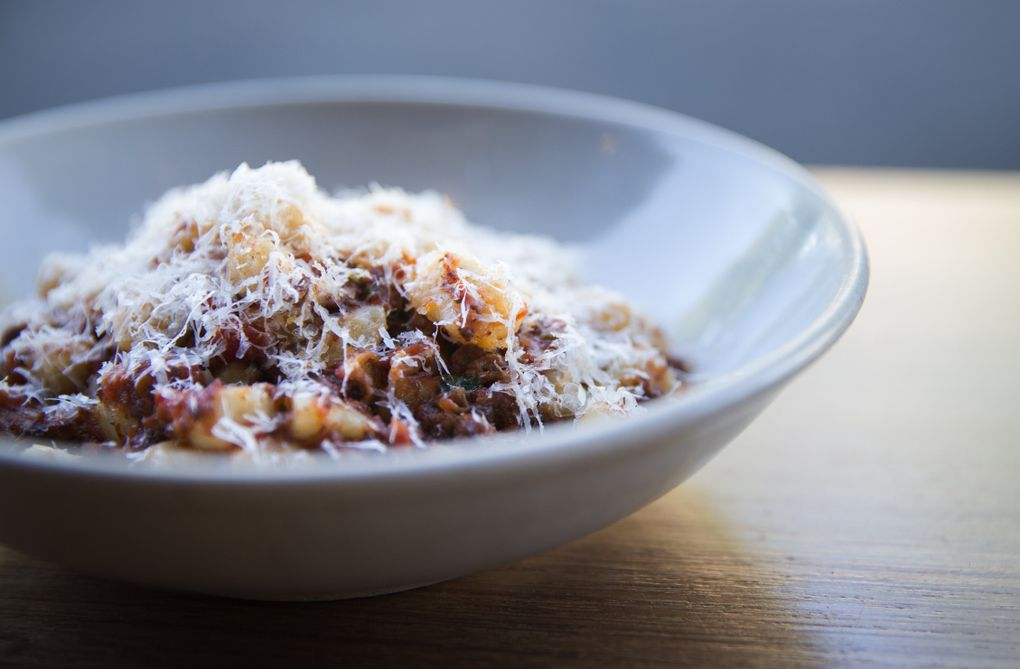Ethan Stowell's potato gnocchi with beef short rib ragu, made with white wine, San Marzano tomatoes, extra virgin olive oil, diced carrots, onion, celery and garlic. (Lindsey Wasson/The Seattle Times)