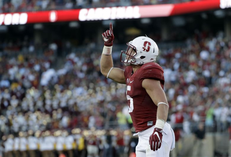 Stanford running back Christian McCaffrey (5) celebrates after a 1-yard touchdown run against Southern California during the first half of an NCAA college football game Saturday, Sept. 17, 2016, in Stanford, Calif. (AP Photo/Marcio Jose Sanchez) PAL113