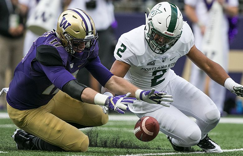 Washington Huskies linebacker Tevis Bartlett, left, recovers the ball as the Portland State Vikings turn it over in the second quarter. The Huskies scored a touchdown on the ensuing drive.  The Washington Huskies played the Portland State Vikings on Saturday, September 17, 2016, at Husky Stadium in Seattle.