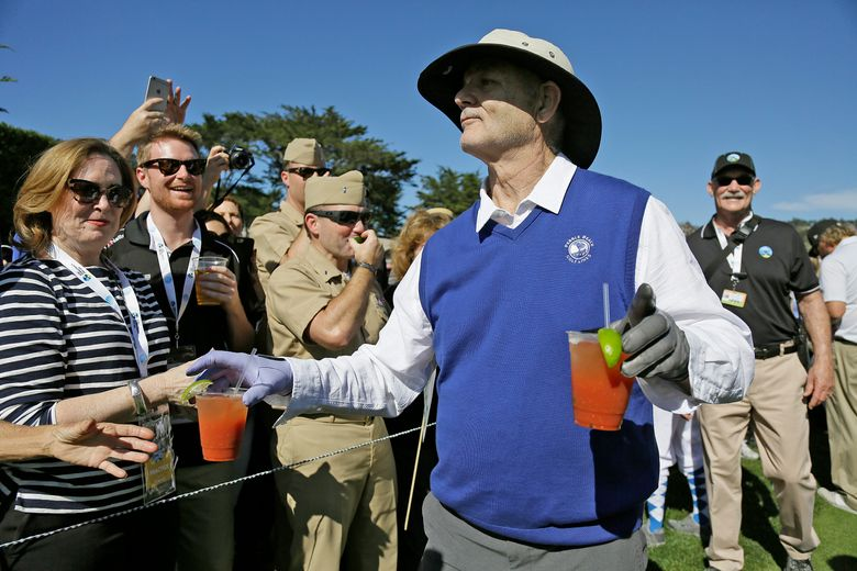 FILE – In this Feb. 10, 2016, file photo, Bill Murray hands out Bloody Mary cocktails to fans on the 17th tee of the Pebble Beach Golf Links during the celebrity challenge event of the AT&T Pebble Beach National Pro-Am golf tournament in Pebble Beach, Calif. Time Out New York reports Murray will tend bar at his son's Brooklyn restaurant on Sept. 16 and Sept. 17, 2016. (AP Photo/Eric Risberg, File)