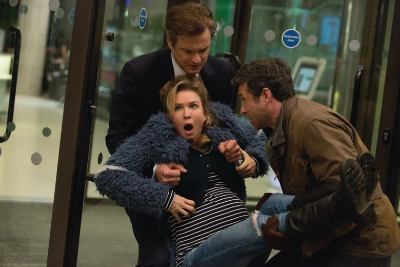 """Bridget Jones (Rene Zellweger) has two prospective daddies for her baby. Colin Firth, left, and Patrick Dempsey play the potential papas in """"Bridget Jones's Baby."""" (Photo Credit: Giles Keyte)"""