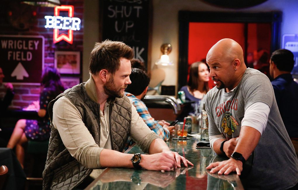 """Joel McHale, left, and Chris Williams in """"The Great Indoors."""" (Cliff Lipson/CBS)"""
